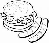 Coloring Sausage Hamburger Delicious Pages Easy sketch template