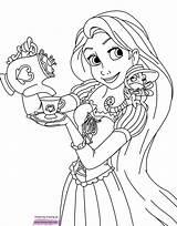 Rapunzel Coloring Pages Tangled Printable Disney Pascal Disneyclips Princess Tea Print Pdf Sheet Moana Funstuff sketch template