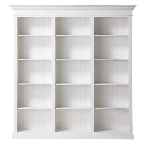 Wooden Bookcase In White W 220cm Biarritz  Maisons Du Monde