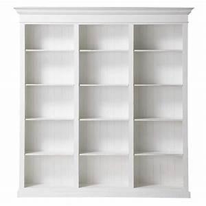 Meuble Bibliothèque Bois : biblioth que en bois blanche l 220 cm biarritz maisons du monde ~ Teatrodelosmanantiales.com Idées de Décoration