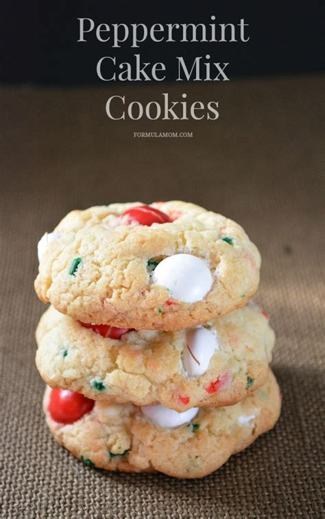 easy christmas cookies  peppermint cake mix cookies