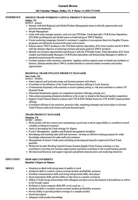 trade product manager resume sles velvet