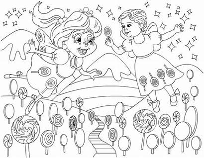Candy Sweet Land Coloring Birthday Pages Shoppe
