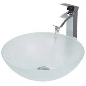 shop vigo white frost glass vessel bathroom sink with