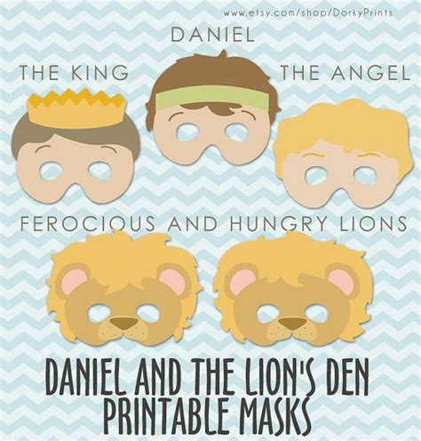 daniel and the lions den printable masks pdf bible 391 | cf7894c7f98e220ab4abbdf5f05efe20