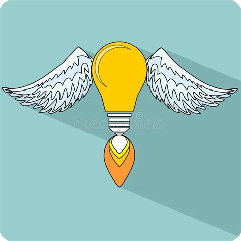 light bulb with wings stock vector image 44742169