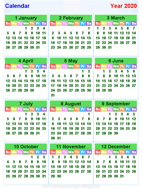 kalender horizontal und vertikal