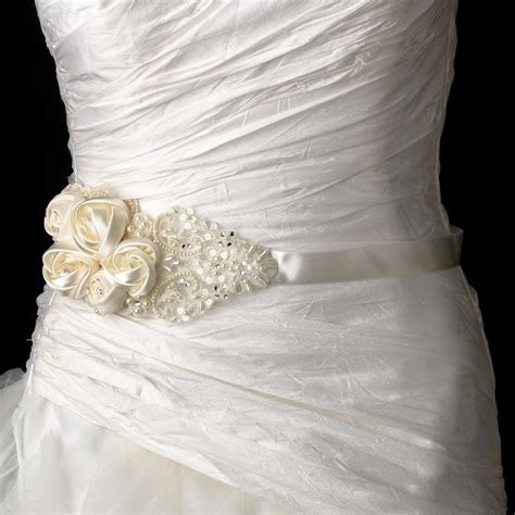 decadent bridal flower belt sash  rhinestone beaded