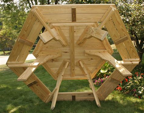 treated pine hexagon picnic table