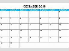 Download December 2018 Calendar Word ,PDF, Excel Template