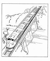Coloring Train Trains Zug Bridge Railroad Ausmalbilder Eisenbahn Sheets Drawing Printable Steam Diesel Buildings Architecture Zum Engine Konabeun Lego Tracks sketch template