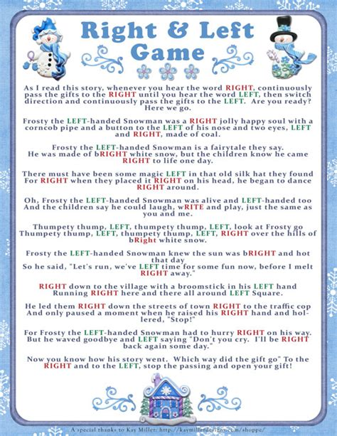 winter right and left story game baby or bridal shower game