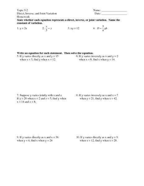 worksheets direct variation worksheets opossumsoft