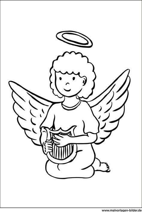 ausmalbild engel mit fluegel und harfe