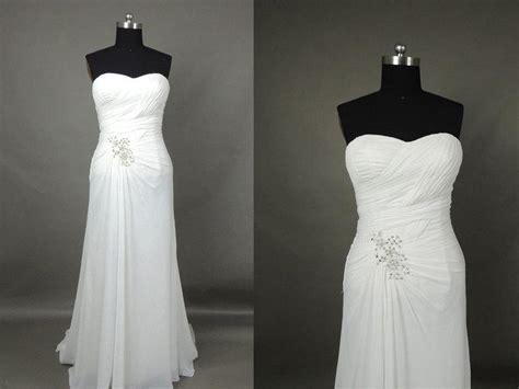 Inexpensive Simple Sweetheart White Chiffon Beach Wedding