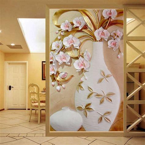 home decor wallpaper custom 3d mural wallpaper embossed flower vase
