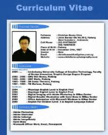 Contoh Format Curriculum Vitae Bahasa Indonesia Example
