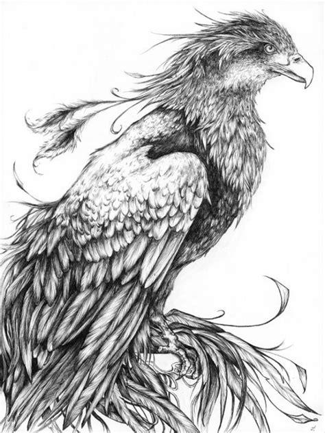 Calm realistic black-and-white waiting phoenix tattoo