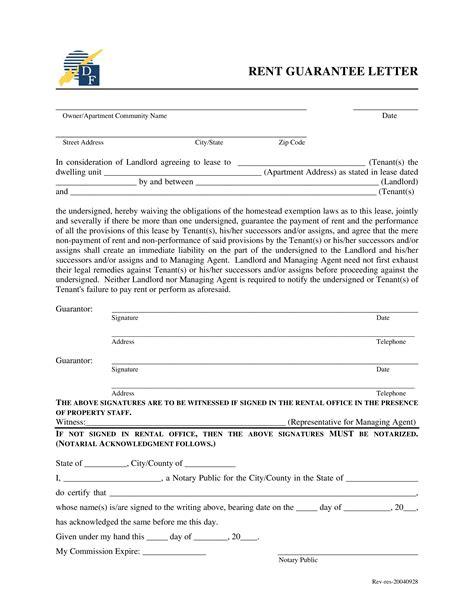 rent guarantee letter templates  allbusinesstemplatescom