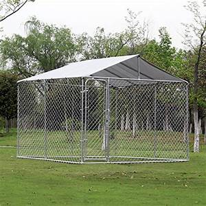 Pawhut 1039 x 1039 x 639 outdoor chain link box kennel dog for Outside covered dog kennels