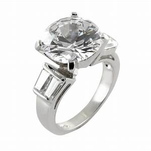 Cubic zirconia round baguette solitaire engagement ring for Sterling silver cubic zirconia wedding rings