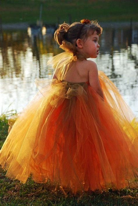 burnt orange tutu dress  tutu flower girl dress