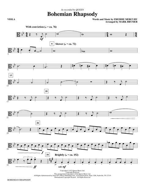 4 to 6 business days. Bohemian Rhapsody - Viola at Stanton's Sheet Music