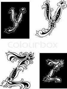Verspielter Floraler Design Stil : y und z buchstaben im retro floral stil stock vektor colourbox ~ Watch28wear.com Haus und Dekorationen