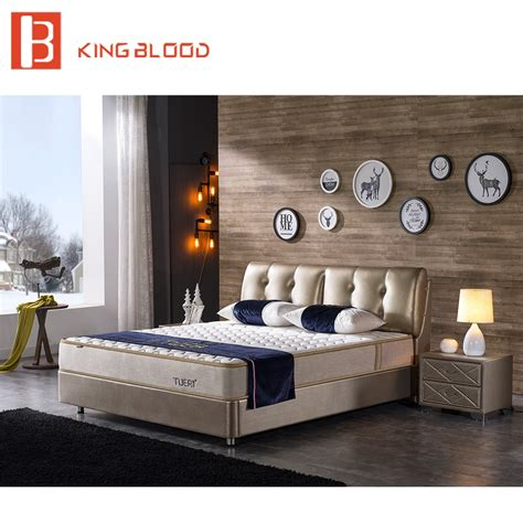 indian modern genuine leather solid wood bed