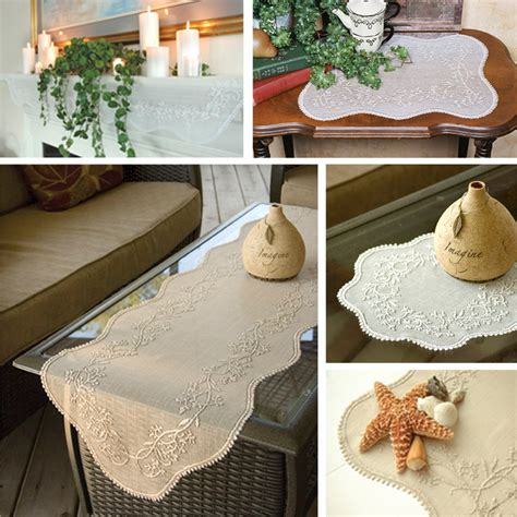 heritage lace sheer divine scarves  table toppers