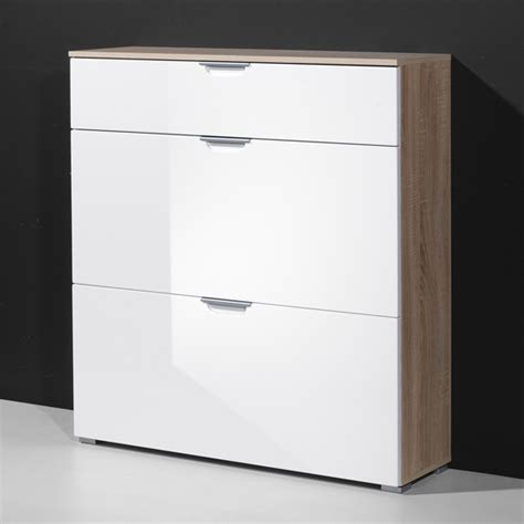 white shoe storage cabinet eva shoe cabinet in gloss white with 3 drawer 13822