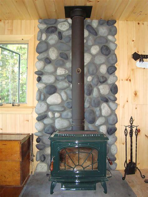 wood stove wall shield  river rock creative faux panels
