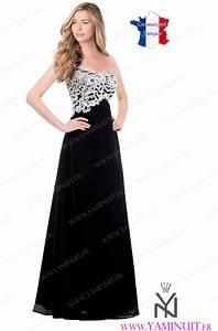 robe de ceremonie noire et blanchefemme robe longue chic With robe noire ample
