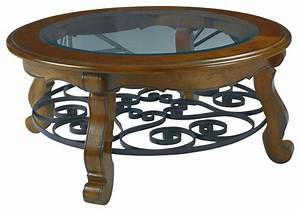 hammary siena glass top round cocktail table with iron With traditional glass top coffee table