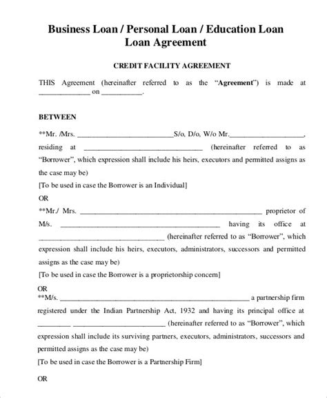 personal loan agreement template doliquid