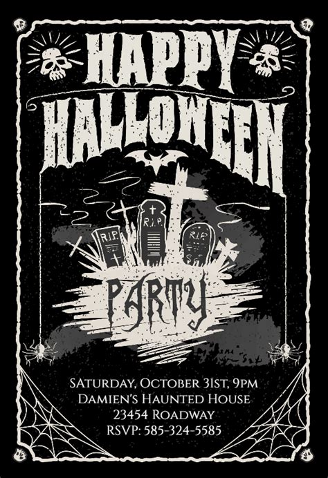 parties halloween party invitation template