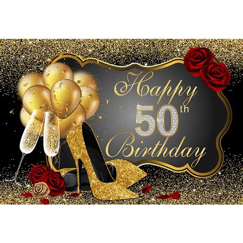 happy  birthday party backdrop printed gold balloons