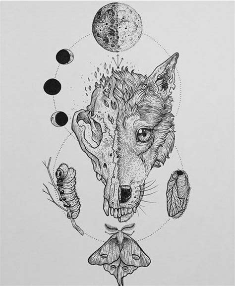 Wolf Nature Moon Skull Cycle Tattoo Sketch Drawing Ink