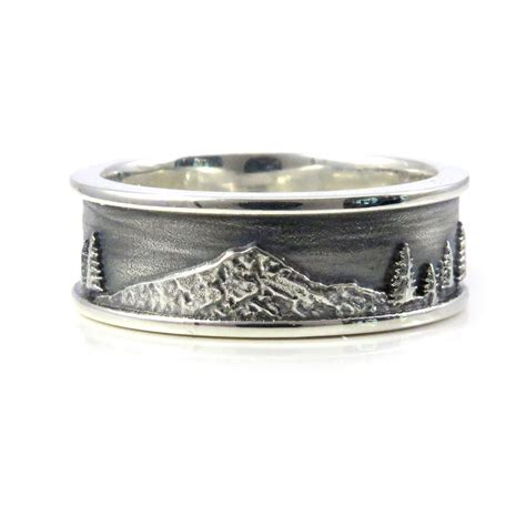 mt hood mens sterling silver ring forest mountain