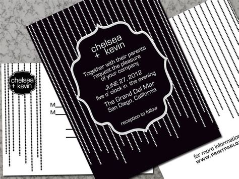 Modern Art Deco Wedding Invitation in Black and White $3