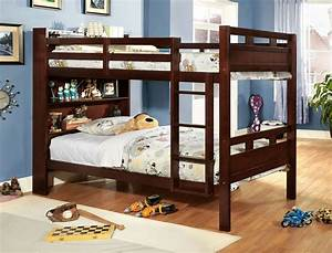 Fairfield, Twin, Over, Full, Bunk, Bed, With, Book, Shelf, From, Furniture, Of, America, Cm