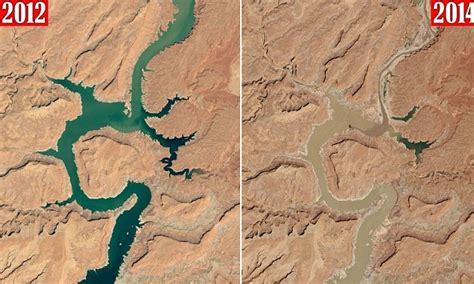 satellite images capture mud choked  full lake powell