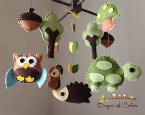 """Baby Crib Mobile - Baby Mobile - Nursery Wood Forest Crib Mobile - """"Forest Little Creatures"""" (You can pick your colors) Mobile - Crib Mobile"""
