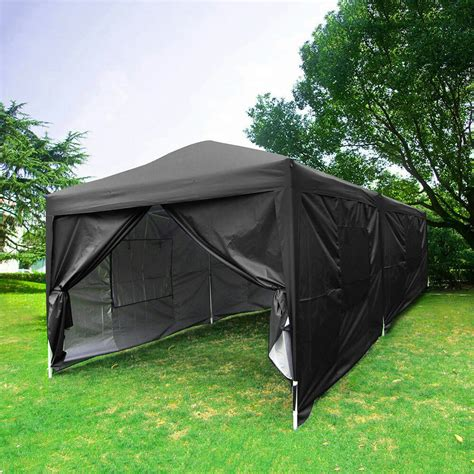 quictent  feet black screen curtain ez pop  canopy party tent gazebo ebay