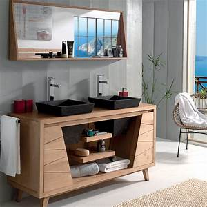 salle de bains en teck et vasque inspirations avec With meuble de salle de bain scandinave