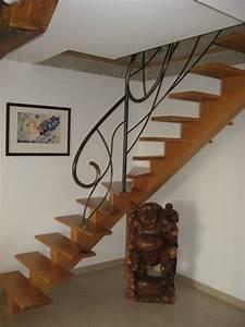 Escalier Fer Et Bois : escalier fer bois escalier rustique en bois avec palier ~ Dailycaller-alerts.com Idées de Décoration