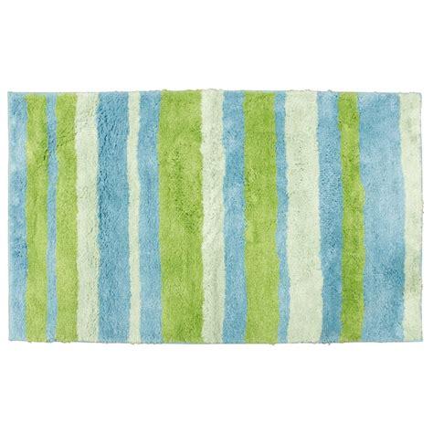 tapis de salle de bain en microfibre 70 x 120 cm bleu et vert ac deco