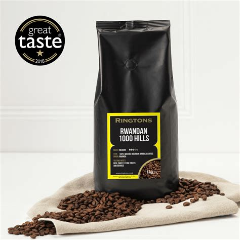 These coffee beans produce a light and creamy espresso. Ringtons Rwandan 1000 Hills Coffee Beans 1kg | Ringtons