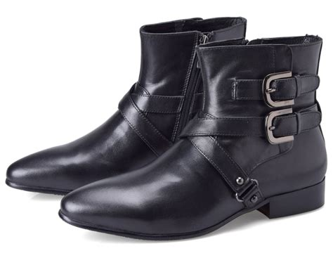mens leather motorcycle boots aliexpress com buy double buckle pointed toe black boots
