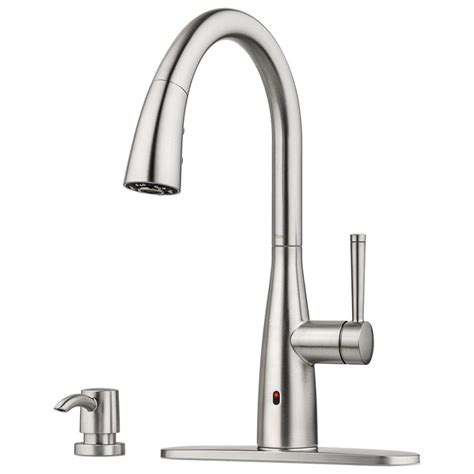 touchless faucets kitchen shop pfister raya spot defense stainless steel 1 handle
